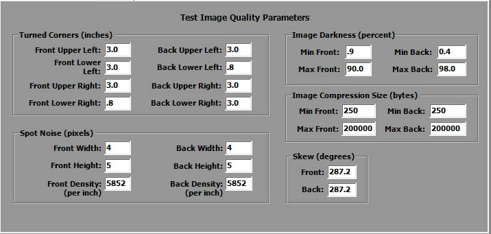 X9 Qualifier IQA test parameters