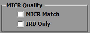 X9 Qualifier MICR and IRD QA Selection