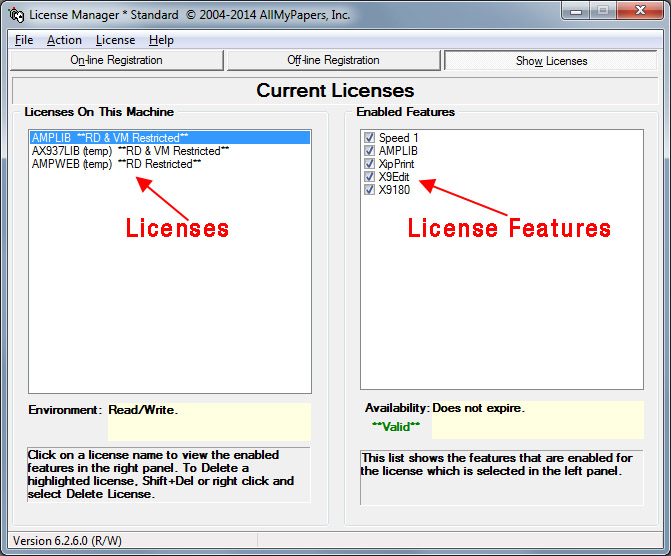 License Manager Show Licenses Screen